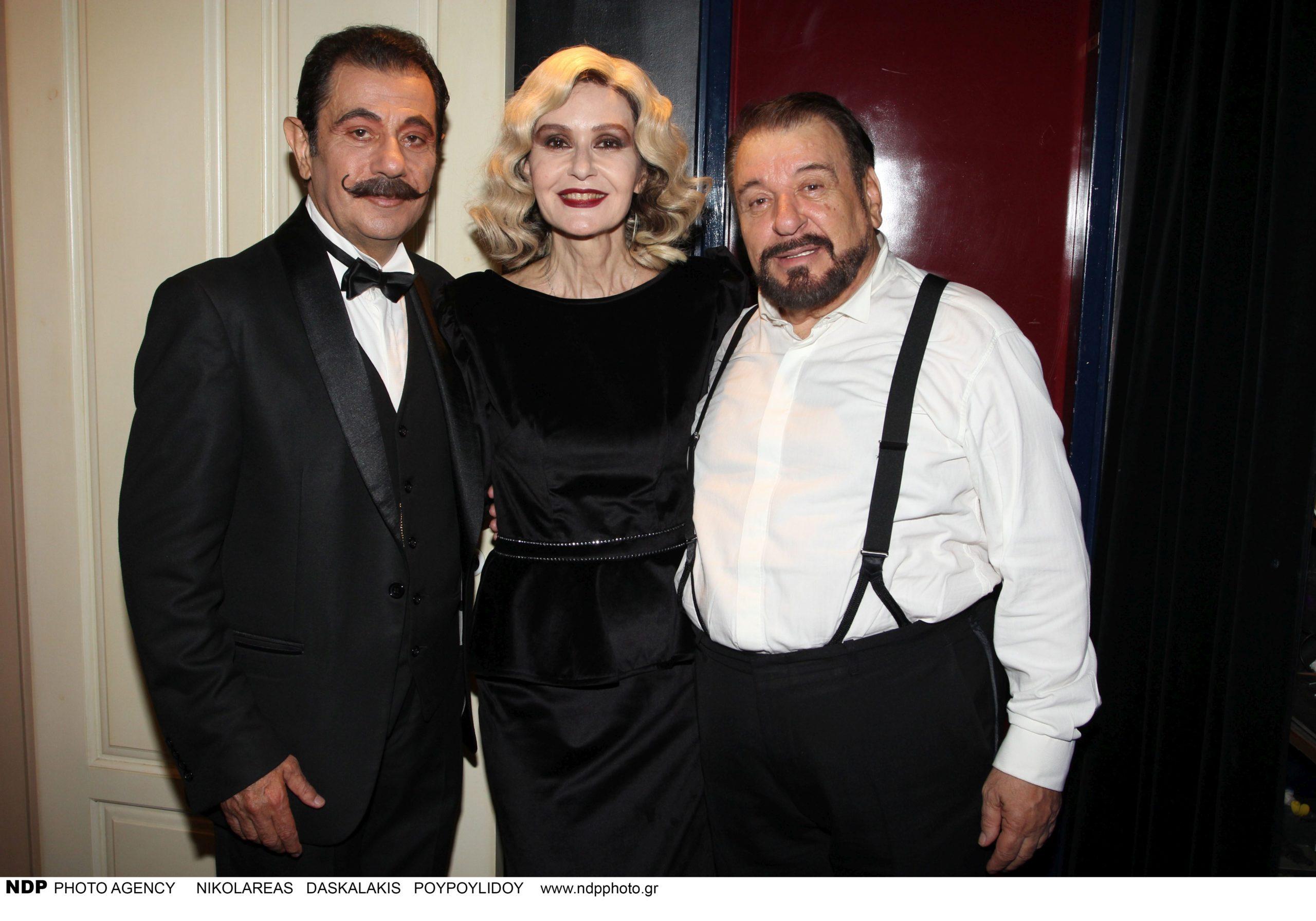 Δάνης Κατρανίδης, Κάτια Δανδουλάκη, Τάσος Χαλκιάς στην παράσταση Orient Express