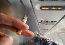 κάπνιζε στο αεροπλάνο