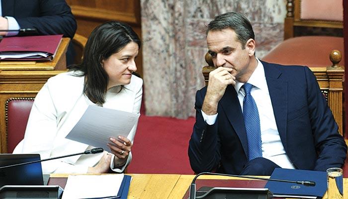 Ο πρωθυπουργός Κυριάκος Μητσοτάκης με την υπουργό Παιδείας Νίκη Κεραμέως