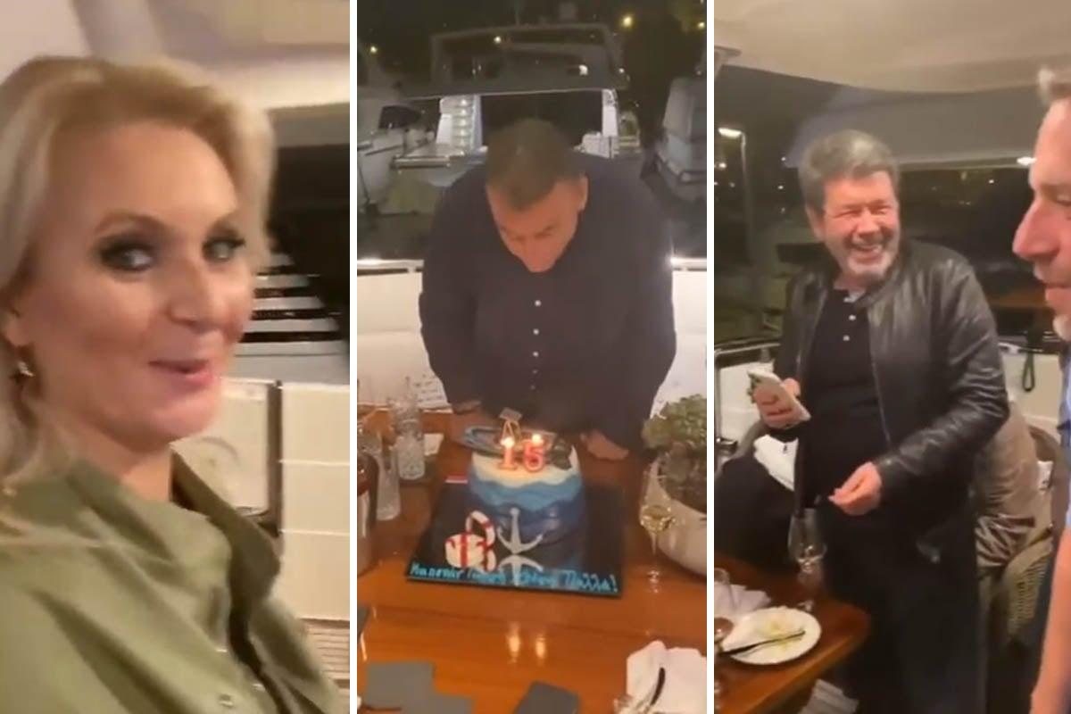 «Σκαφάτα» γενέθλια με φίλους για τον Γιώργο Λιάγκα (video)