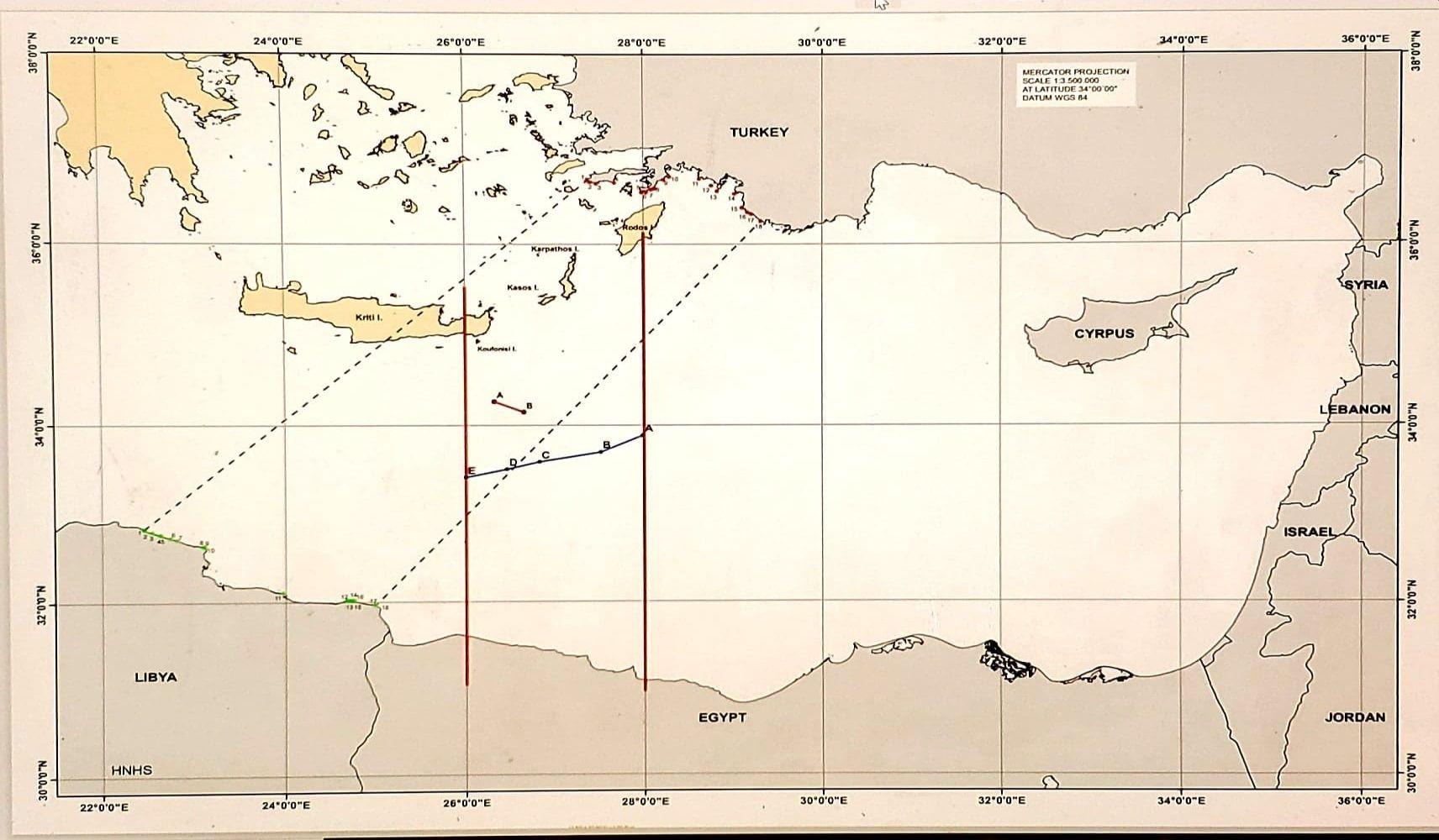 Χάρτης οριοθέτησης ΑΟΖ