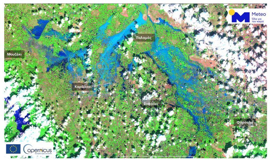 «Πνίγηκε» ο θεσσαλικός κάμπος – Πάνω από 210.000 στρέμματα κάτω από το νερό